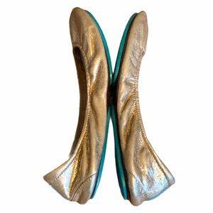 Tieks Custom Metallic Gold 9 Leather Foldable Flat